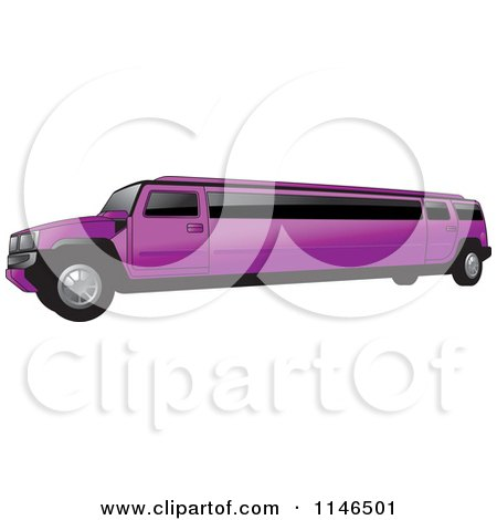 Clipart of a Purple Hummer Stretch Limo - Royalty Free Vector Illustration by Lal Perera