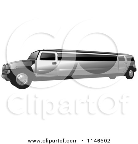 Clipart of a Silver Hummer Stretch Limo - Royalty Free Vector Illustration by Lal Perera