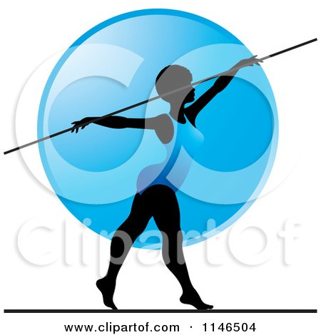 Clipart of a Silhouetted Gymnast Woman on a Balance Beam over a Blue Circle - Royalty Free Vector Illustration by Lal Perera