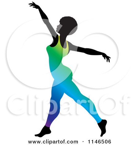 Clipart of a Silhouetted Gymnast Woman Dancing in a Gradient Leotard - Royalty Free Vector Illustration by Lal Perera