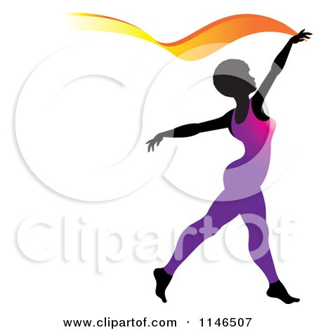 Clipart of a Silhouetted Gymnast Woman Ribbon Dancing in a Purple Leotard - Royalty Free Vector Illustration by Lal Perera