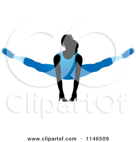 Clipart of a Silhouetted Gymnast Woman Balancing on Her Hands in a Blue Leotard - Royalty Free Vector Illustration by Lal Perera