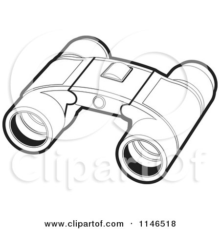 Clipart of a Pair of Black and White Binoculars - Royalty ...