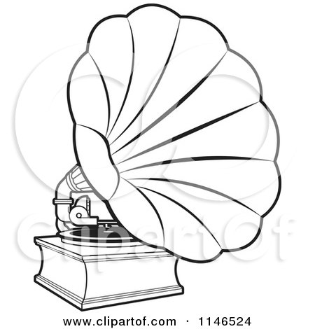 Clipart of a Black and White Gramophone - Royalty Free Vector Illustration by Lal Perera