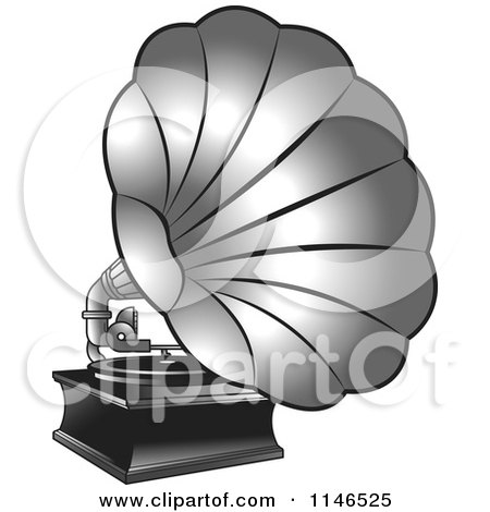 Clipart of a Silver Gramophone - Royalty Free Vector Illustration by Lal Perera