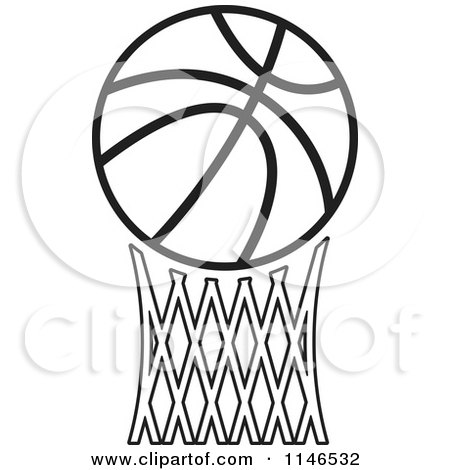 Black and white basketball over netting posters art prints