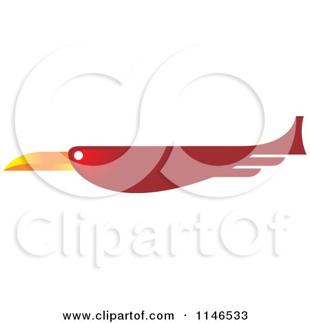 Clipart of a Red Flying Bird - Royalty Free Vector Illustration by Lal Perera