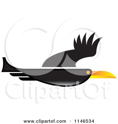 Clipart of a Black Flying Bird - Royalty Free Vector Illustration by Lal Perera