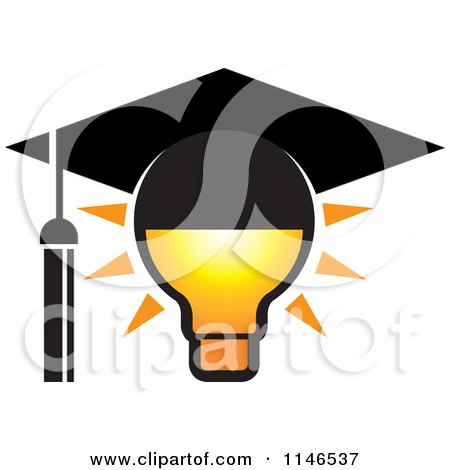 Clipart of a Lightbulb with a Graduation Cap - Royalty Free Vector Illustration by Lal Perera