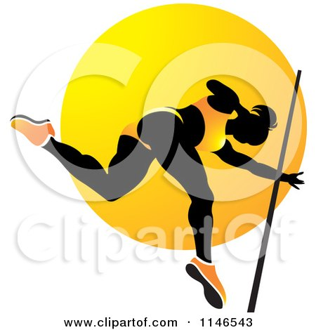 Clipart of a Silhouetted Pole Vault Woman over an Orange Circle - Royalty Free Vector Illustration by Lal Perera