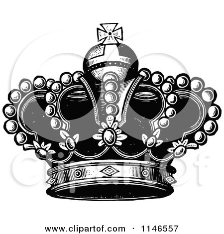 Clipart Of A Retro Vintage Black And White Royal Crown 3