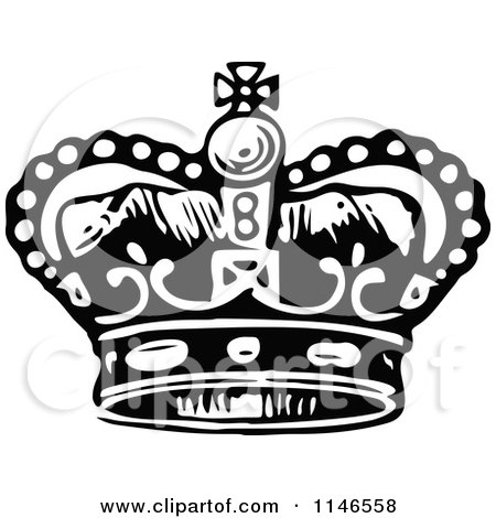 Clipart Vintage Black And White Coronet Crown 2