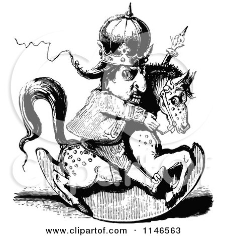 Clipart of a Retro Vintage Black and White Crazy King Riding a Rocking Horse - Royalty Free Vector Illustration by Prawny Vintage