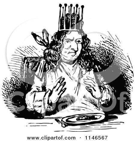 Clipart of a Retro Vintage Black and White King Eating Supper - Royalty Free Vector Illustration by Prawny Vintage
