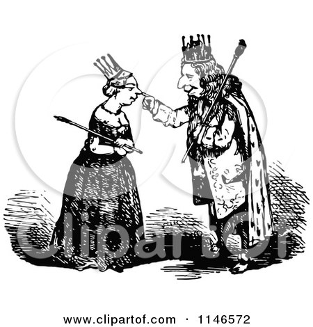 Clipart of a Retro Vintage Black and White King Touching a Queens Nose - Royalty Free Vector Illustration by Prawny Vintage