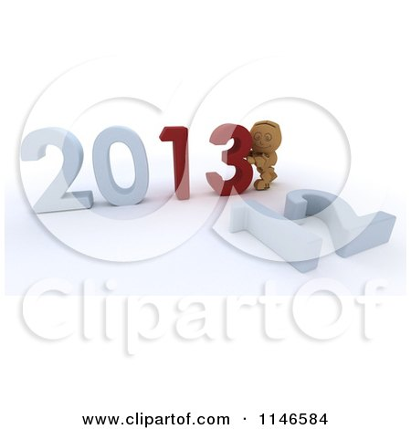 Clipart of a 3d Box Boy Pushing New Year 2013 Numbers Together and Knocking down 12 - Royalty Free CGI Illustration by KJ Pargeter