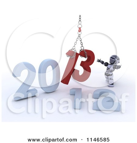Clipart of a 3d New Year Robot Replacing 2012 with 2013 with a Hoist - Royalty Free CGI Illustration by KJ Pargeter