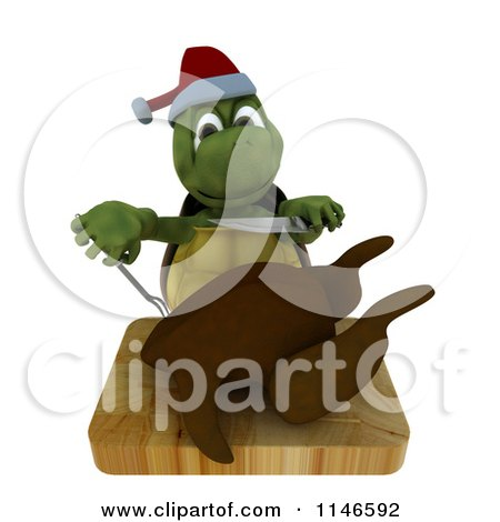Clipart of a 3d Christmas Tortoise Trimming a Roasted Turkey - Royalty Free CGI Illustration by KJ Pargeter