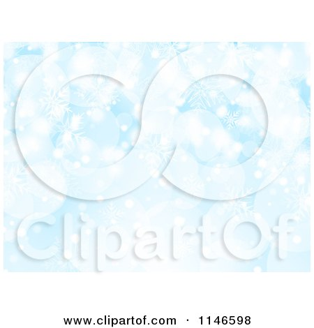 Clipart of a Blue Snowflake and Bokeh Christmas Background - Royalty Free Vector Illustration by KJ Pargeter