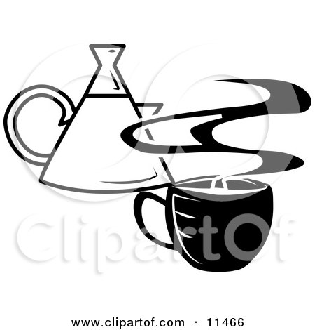 Steaming Hot Cup of Coffee and a Coffee Pot Clipart Illustration by AtStockIllustration