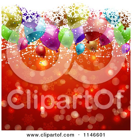 Clipart of a Christmas Party Background with Snowflakes Balloons Stars and Red Snowflakes - Royalty Free Vector Illustration by KJ Pargeter