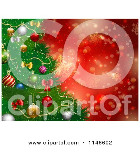 Clipart of a Christmas Tree Background with Red Snowflakes and Bokeh Lights - Royalty Free Vector Illustration by KJ Pargeter