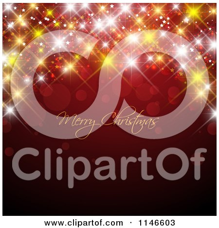 Clipart of a Merry Christmas Greeting with Sparkly Bokeh Lights on Red - Royalty Free Vector Illustration by KJ Pargeter