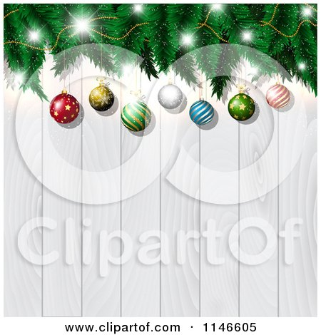 Clipart of a Christmas Bauble and Tree Branch Background over White Wood - Royalty Free Vector Illustration by KJ Pargeter