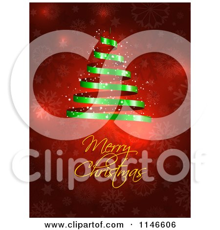 Clipart of a Merry Christmas Greeting Under a Green Spiral Ribbon Tree on Red Snowflakes - Royalty Free Vector Illustration by KJ Pargeter