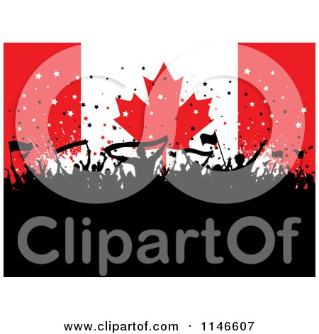 Clipart of a Silhouetted Party Crowd over a Canadian Flag - Royalty Free Vector Illustration by KJ Pargeter