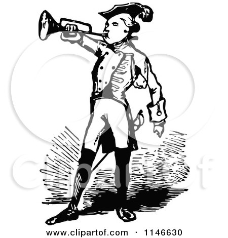 Clipart of a Retro Vintage Black and White Soldier Blowing a Trumpet - Royalty Free Vector Illustration by Prawny Vintage