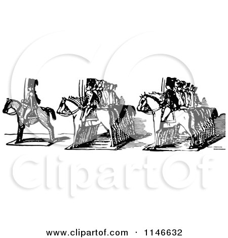 Clipart of a Retro Vintage Black and White Border of Toy Soldiers on Horses - Royalty Free Vector Illustration by Prawny Vintage