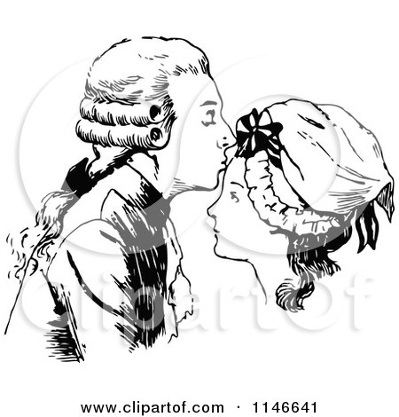 Clipart of a Retro Vintage Black and White Man Kissing a Womans Forehead - Royalty Free Vector Illustration by Prawny Vintage