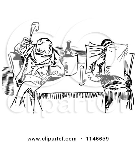 Clipart of a Retro Vintage Black and White Dining Couple Reading and Smoking - Royalty Free Vector Illustration by Prawny Vintage