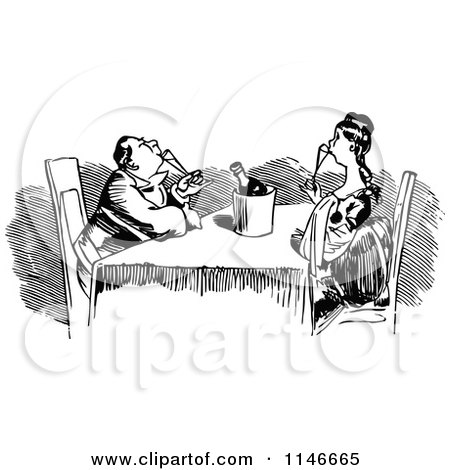 Clipart of a Retro Vintage Black and White Couple Drinking Champagne - Royalty Free Vector Illustration by Prawny Vintage