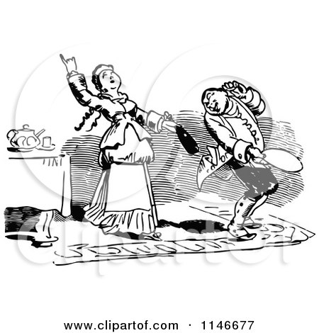 Clipart of a Retro Vintage Black and White Woman Pulling Wine out of Her Husbands Coat - Royalty Free Vector Illustration by Prawny Vintage