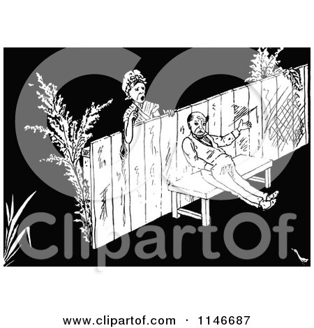 Clipart of a Retro Vintage Black and White Woman Looking at a Grumpy Man on the Other Side of a Fence - Royalty Free Vector Illustration by Prawny Vintage