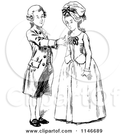 Clipart of a Retro Vintage Black and White Young Man Proposing to a Lady - Royalty Free Vector Illustration by Prawny Vintage