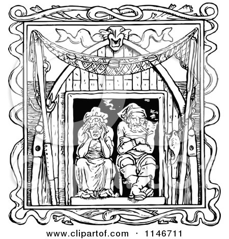 Clipart of a Retro Vintage Black and White Old Couple in a Window - Royalty Free Vector Illustration by Prawny Vintage