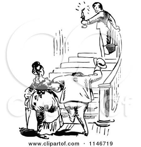 Clipart of a Retro Vintage Black and White Man Leading a Couple up ...