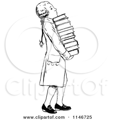 Clipart of a Retro Vintage Black and White Wig Boy Carrying Books - Royalty Free Vector Illustration by Prawny Vintage