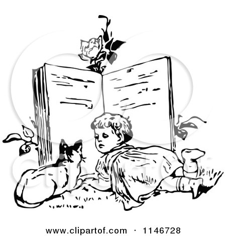 Clipart of a Retro Vintage Black and White Girl and Cat Reading a Giant Book - Royalty Free Vector Illustration by Prawny Vintage
