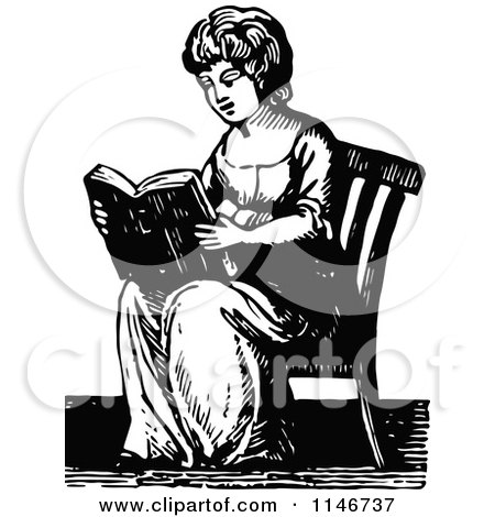 Clipart of a Retro Vintage Black and White Lady Reading - Royalty Free Vector Illustration by Prawny Vintage