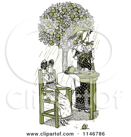 Clipart of a Retro Vintage Mother and Daughter Having Tea Outside in Green Tones - Royalty Free Vector Illustration by Prawny Vintage