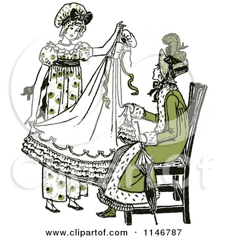 Clipart of a Retro Vintage Mother and Daughter Sewing a Dress in Green Tones - Royalty Free Vector Illustration by Prawny Vintage