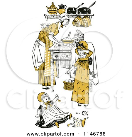 Clipart of a Retro Vintage Mother and Daughters in a Kitchen in Yellow Tones - Royalty Free Vector Illustration by Prawny Vintage