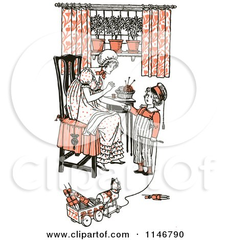 Clipart of a Retro Vintage Mother and Son Sewing and Playing in Orange Tones - Royalty Free Vector Illustration by Prawny Vintage