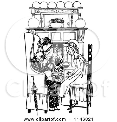 Clipart of a Retro Vintage Black and White Mother and Daughter by a Fireplace - Royalty Free Vector Illustration by Prawny Vintage