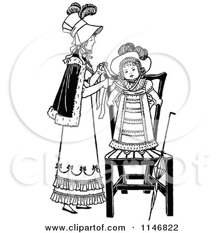 Clipart of a Retro Vintage Black and White Mother Dressing Her Daughter - Royalty Free Vector Illustration by Prawny Vintage