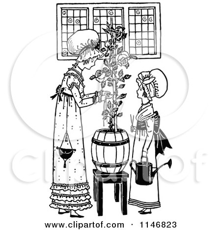 Clipart of a Retro Vintage Black and White Mother and Daughter Tending to a Plant - Royalty Free Vector Illustration by Prawny Vintage